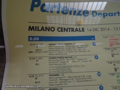 Contoh jadwal kereta di Stasiun Milano Centrale