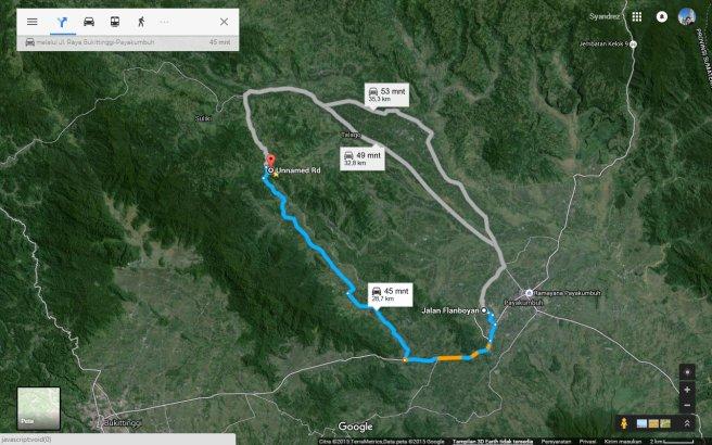 Rute menuju Kubang via Batu Hampar