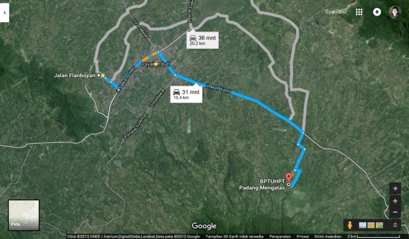 Lokasi Padang Mangateh dari rumah saya