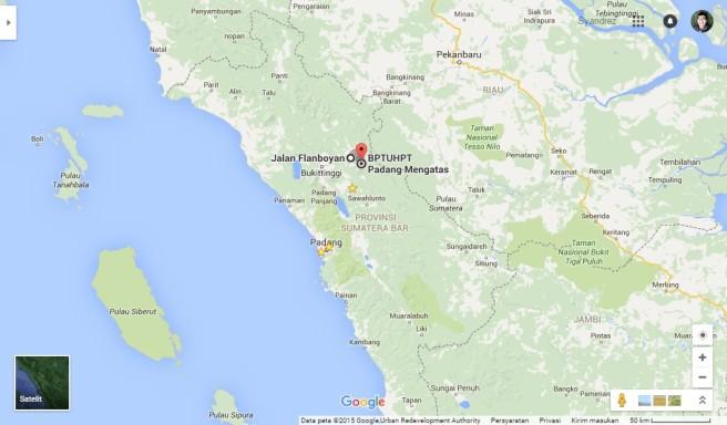Lokasi Padang Mangateh dilihat dari peta Sumatera Barat